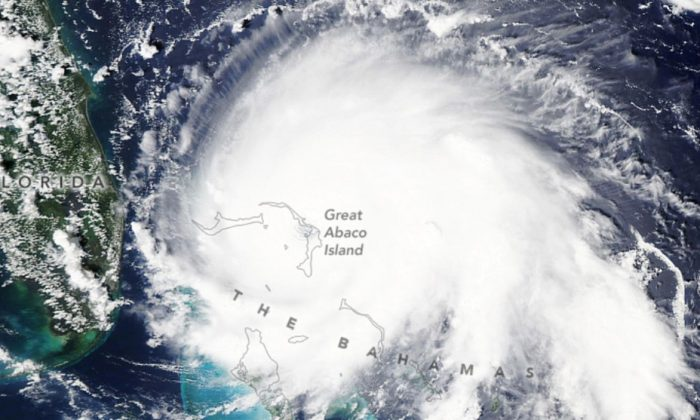 A NASA satellite photo shows Hurricane Dorian over the northwestern Bahamas. (NASA)