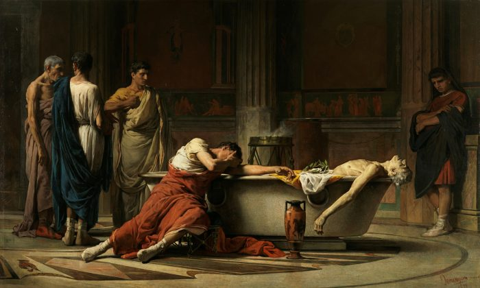 """The Suicide of Seneca,"" 1871, by Manuel Dominguez Sanchez. Oil on Canvas, 106 1/3 inches by 177 ¼ inches. Prado Museum, Spain. (Public Domain)"
