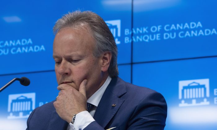 Bank of Canada governor StephenPolozponders a question during a news conference in Ottawa on July 10, 2019. Canada's central bank left its key policy rate unchanged at 1.75 percent on Sept. 4, 2019. (The Canadian Press/Adrian Wyld)