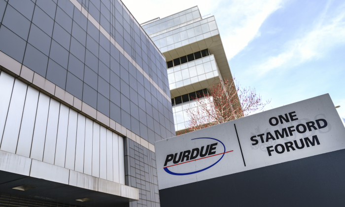 Purdue Pharma headquarters stands in downtown Stamford, in Stamford, Conn., on April 2, 2019. (Drew Angerer/Getty Images)