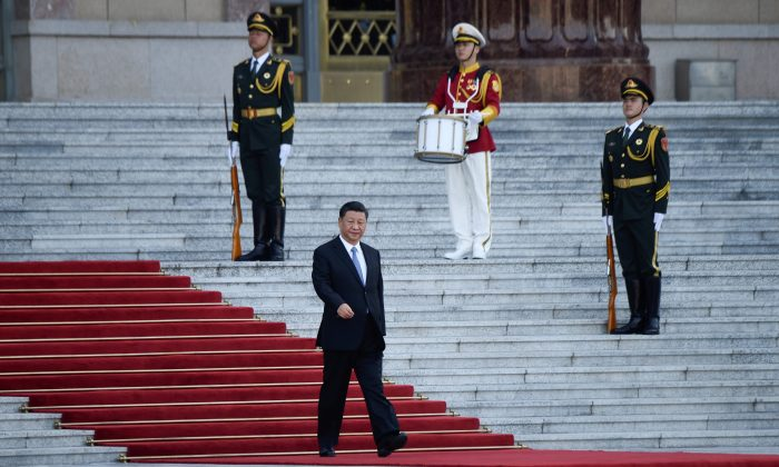Chinese leader Xi Jinping is outside the Great Hall of the People in Beijing on July 31, 2019. (WANG ZHAO/AFP/Getty Images)