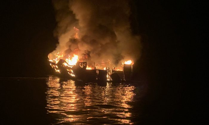 In this handout provided by Santa Barbara County Fire Department, the 75-foot Conception, based in Santa Barbara Harbor, burns after catching fire early Sept. 2, 2019, while anchored off Santa Cruz Island in California. (Santa Barbara County Fire Department via Getty Images)