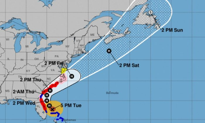 Hurricane Dorian's track has shifted slightly west, and hurricane warnings are now in effect (NHC)