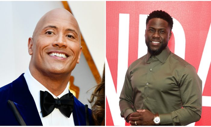 (L) Dwayne Johnson at Hollywood & Highland Center in Hollywood, California, Feb. 26, 2017. (Frazer Harrison/Getty Images) (R) Kevin Hart at The Robin Williams Center in New York City on Jan. 9, 2019. (Jamie McCarthy/Getty Images)