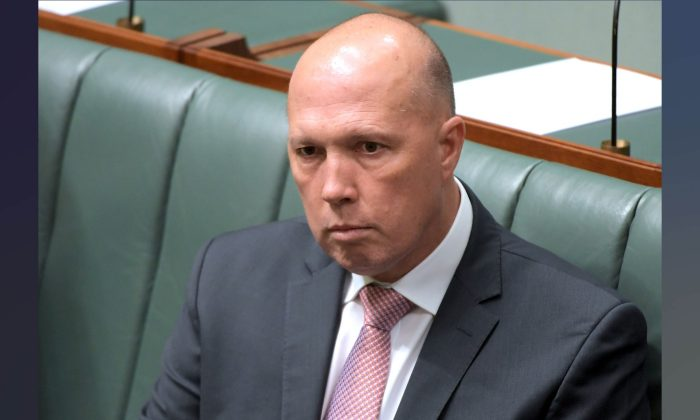 Peter Dutton at Parliament House in Canberra, Australia, on Feb. 18, 2019. (Tracey Nearmy/Getty Images)