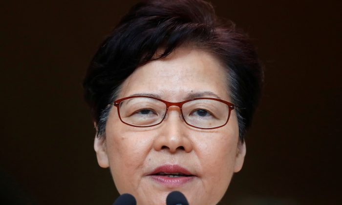 Hong Kong's Chief Executive Carrie Lam holds a news conference in Hong Kong, China, Sept. 3, 2019. (Kai Pfaffenbach/Reuters)