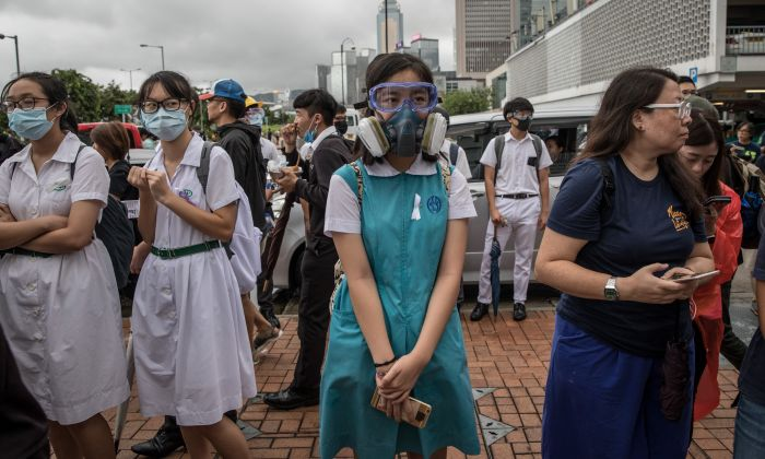 Students take part in a school boycott rally in Central district of Hong Kong on September 02, 2019. (Chris McGrath/Getty Images)