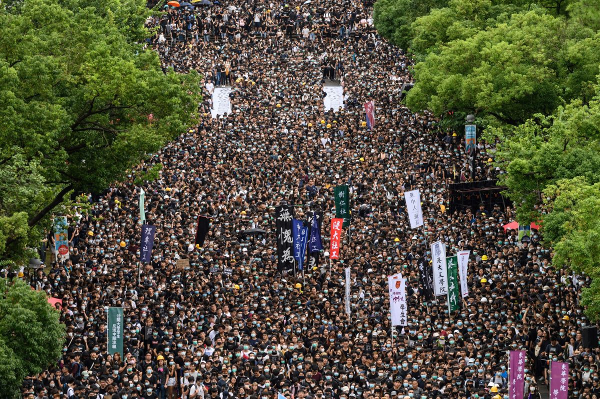 Students attend a school boycott rally in opposition to a controversial extradition bill, in Hong Kong.