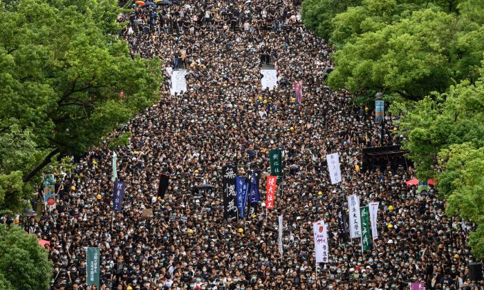 Students attend a school boycott rally in opposition to a controversial extradition bill, at the Chinese University of Hong Kong on September 2, 2019. The protests have morphed into a wider call for democratic rights in the city's elections. (PHILIP FONG/AFP/Getty Images)