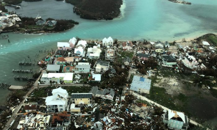 An aerial view shows devastation after hurricane Dorian hit the Abaco Islands in the Bahamas on Sept. 3, 2019, in this image obtained via social media. (Michelle Cove/Trans Island Airways/via Reuters)