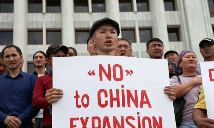 People protest against the construction of Chinese factories in Kazakhstan during a rally in Almaty, Kazakhstan on Sept. 4, 2019. (Pavel Mikheyev/Reuters)