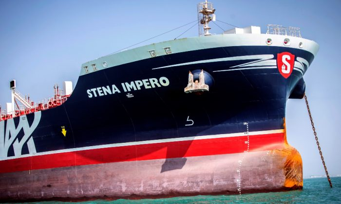 Stena Impero, a British-flagged vessel owned by Stena Bulk, is seen at undisclosed place off the coast of Bandar Abbas, Iran, on Aug. 22, 2019. (Nazanin Tabatabaee/WANA (West Asia News Agency) via Reuters)