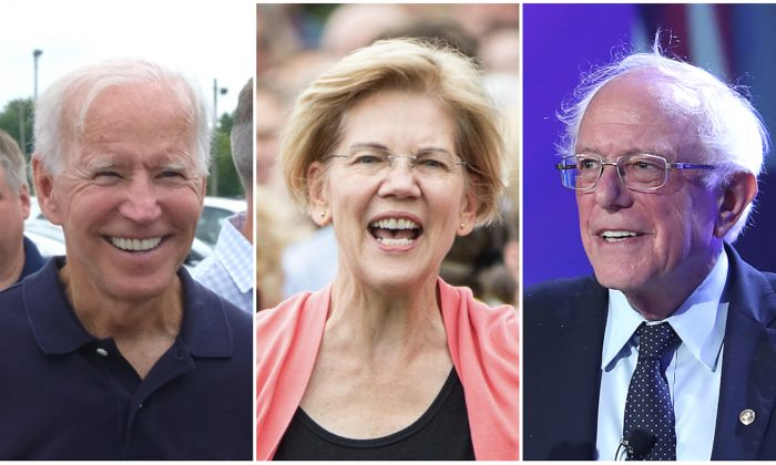Former Vice President Joe Biden, Sen. Elizabeth Warren (D-Mass.), and Sen. Bernie Sanders (I-Vt.) in file photographs. (Alex Wroblewski/Getty Images; Scott Eisen/Getty Images; Joe Raedle/Getty Images)