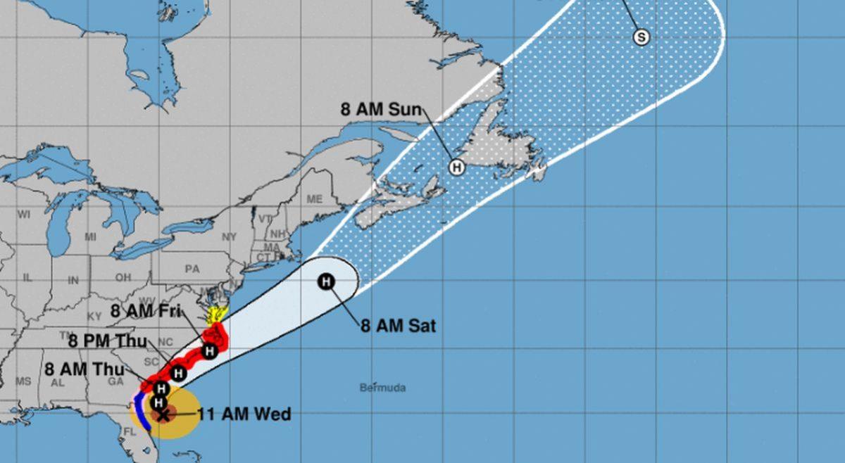 Hurricane Dorian Moving Parallel to Florida Coast, Heading...