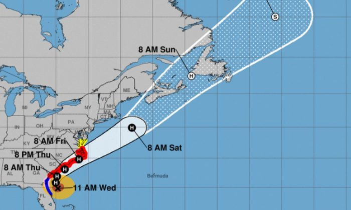 The U.S. National Hurricane Center (NHC) said hurricane warnings are now in effect for more areas along the North Carolina coast. (NHC)