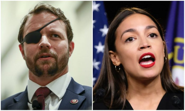 Dan Crenshaw (R-Texas) and Alexandria Ocasio-Cortez (D-N.Y.). (Samira Bouaou/The Epoch Times (L) and Alex Wroblewski/Getty Images(R))