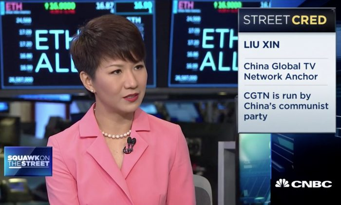 """Liu Xin, host of China's state broadcaster CGTN, speaks at CNBC's """"Squawk on the Street"""" on Sept. 3. (Screenshot)"""