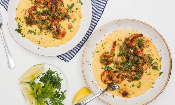 Cajun butter shrimp and cheesy cheddar grits. (Caroline Chambers)