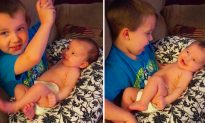 Mom Films Son Singing to His New Baby Sister, and Her Reaction Is Beyond Adorable