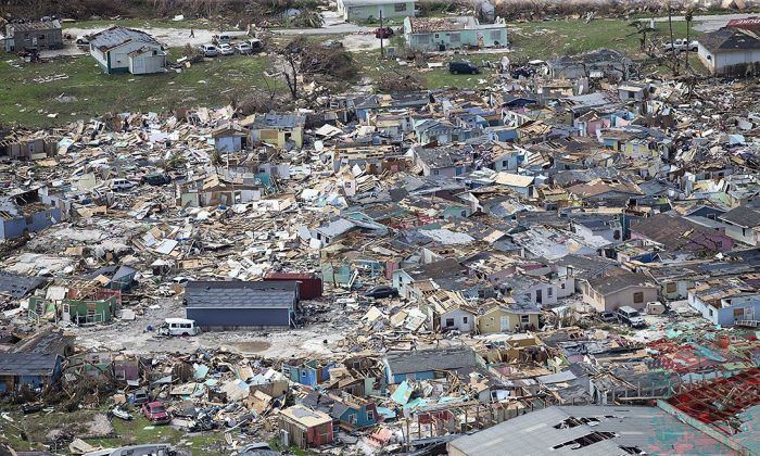 Destruction from Hurricane Dorian at Marsh Harbour in Great Abaco Island, Bahamas, on Sept. 4, 2019. (Al Diaz/Miami Herald via AP)