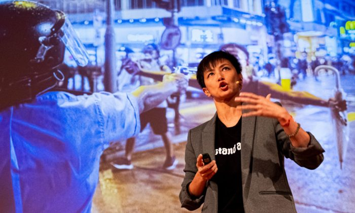 Cantopop star turned political activist Denise Ho Wan-see, also known as HOCC speaks during the Be Water: Hong Kong v China event at Melbourne City conference centre in Melbourne, Australia, on Sept. 4, 2019. (Asanka Ratnayake/Getty Images)