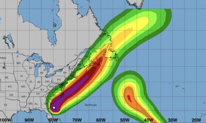Forecast for Hurricane Dorian wind speeds on Sept. 4, 2019. (NHC)