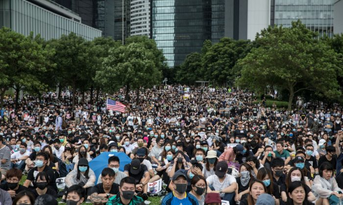 Protesters take part in a school boycott rally at Tamer Park in Central district in Hong Kong on Sept. 2, 2019. (Chris McGrath/Getty Images)
