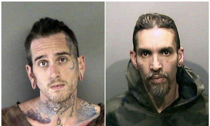 Max Harris (L) and Derick Almena at Santa Rita Jail in Alameda County, Calif., in June 2017. (Alameda County Sheriff's Office via AP)