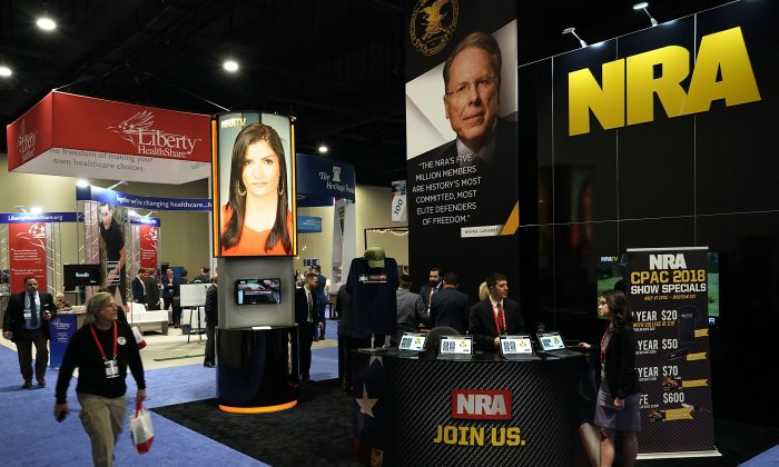 The booth of National Rifle Association (NRA) is seen during CPAC 2018 in National Harbor, Md. on Feb. 22, 2018. (Alex Wong/Getty Images)