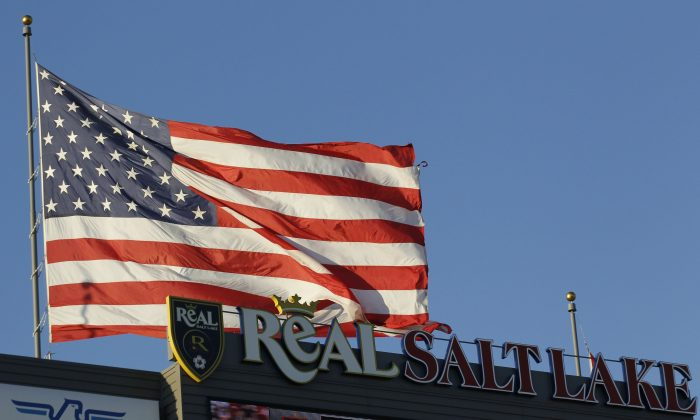 The U.S. flag flies over  Rio Tinto Stadium in Sandy, Utah, on Sept. 3, 2011. (George Frey/Getty Images)