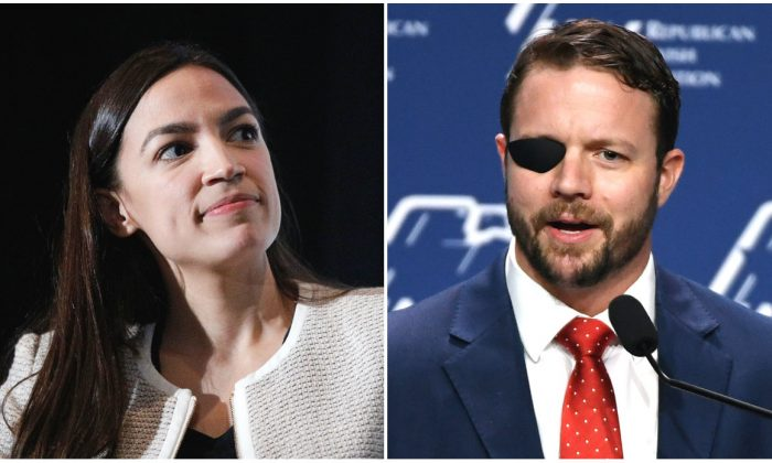 Rep. Alexandria Ocasio-Cortez and Rep. Dan Crenshaw in file photos. (Lars Niki/Getty Images for The Athena Film Festival & Ethan Miller/Getty Images)