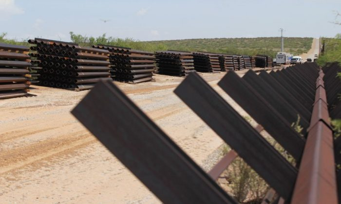 Picture of the wall construction on the US-Mexico border seen from Chihuahua State in Mexico, approximately 100 km from the city of Ciudad Juarez, on August 28, 2019 (HERIKA MARTINEZ/AFP/Getty Images)