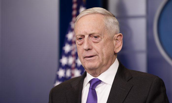Secretary of Defense Jim Mattis speaks during a press briefing on Feb. 7, 2018. (Samira Bouaou/The Epoch Times)