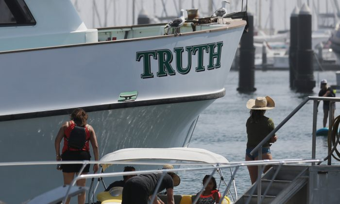 The boat 'Truth', owned by Truth Aquatics, floats in Santa Barbara Harbor, on September 2, 2019 in Santa Barbara, California. Their sister dive ship Conception was anchored near Santa Cruz Island when it caught fire in the early morning hours of Labor Day. (Mario Tama/Getty Images)