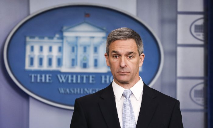 Acting Director of United States Citizenship and Immigration Services Ken Cuccinelli speaks to media at the White House in Washington in a file photograph. (Charlotte Cuthbertson/The Epoch Times)