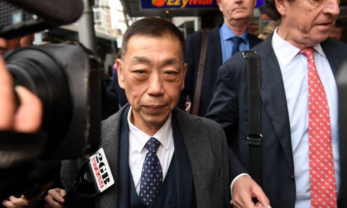 Ernest Wong leaves the NSW Independent Commission Against Corruption (ICAC) public inquiry into allegations concerning political donations in Sydney on Aug. 30, 2019. (AAP Image/Dean Lewins)