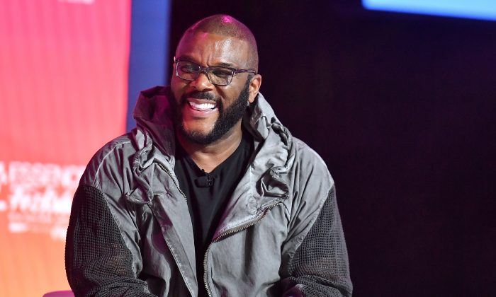 In this file image, Tyler Perry speaks in New Orleans, Louisiana, on July 07, 2019. (Paras Griffin/Getty Images for ESSENCE)