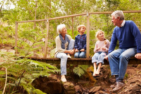 Grandparents sitting with grandkids on a bridge in a forest - Bilder