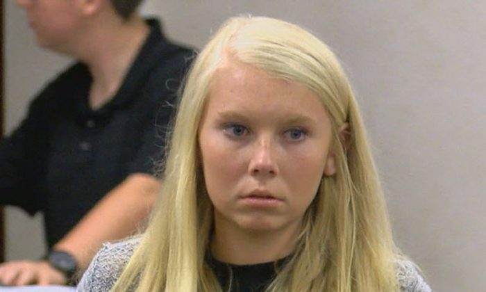 Brooke Skylar Richardson makes her first court appearance in Franklin Municipal Court in Franklin, Ohio on July 21, 2017. (FOX19 NOW/Michael Buckingham via AP)
