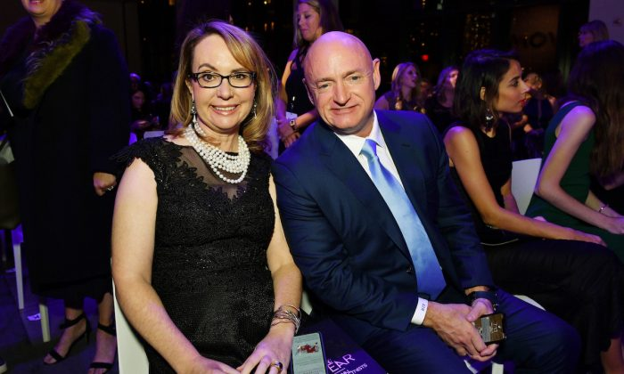 Gabrielle Giffords and Mark Kelly attend the 2018 Glamour Women Of The Year Awards: Women Rise in New York City on Nov. 12, 2018. (Photo by Bryan Bedder/Getty Images for Glamour)