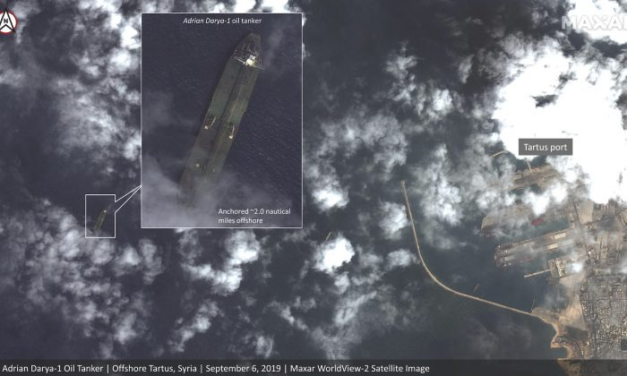 This satellite image dated Sept. 6, 2019, appears to show the Iranian oil tanker Adrian Darya-1 off the coast of Tartus, Syria, despite U.S. efforts to seize the vessel. (Satellite image Maxar Technologies via AP)