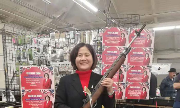 San Francisco Mayoral candidate Ellen Lee Zhou at Cow Palace gun show on March 17, 2019. (Courtesy of Zhou)