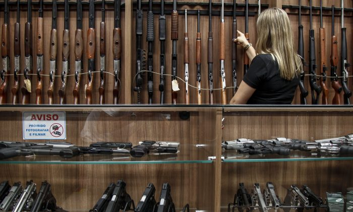 Inside a gun shop in Sao Paulo, Brazil, on Jan. 15, 2019.  (Miguel Schincariol/AFP/Getty Images)