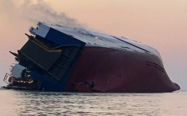 cargo ship overturns