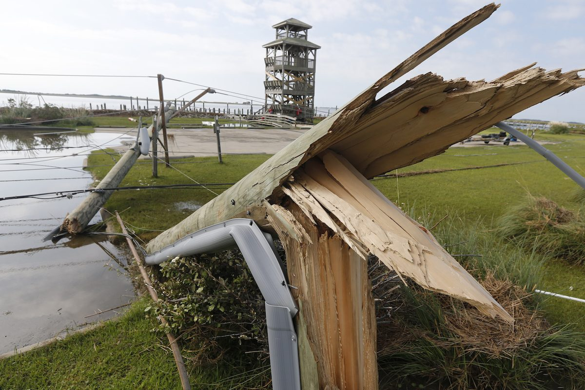 Utility poles were shipped after Hurricane Dorian
