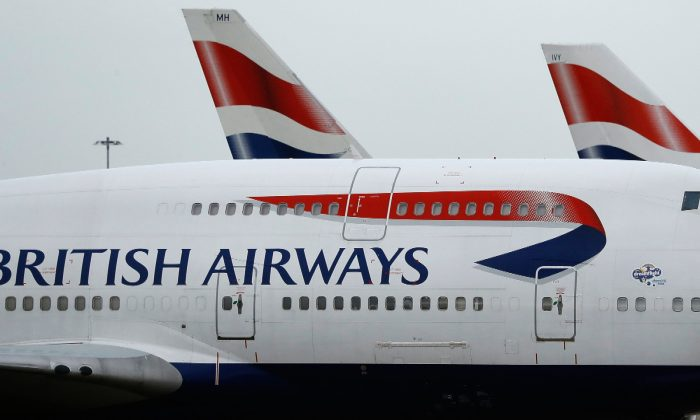 British Airways planes are parked at Heathrow Airport in London on Jan. 10, 2017. (Frank Augstein/File Photo via AP)