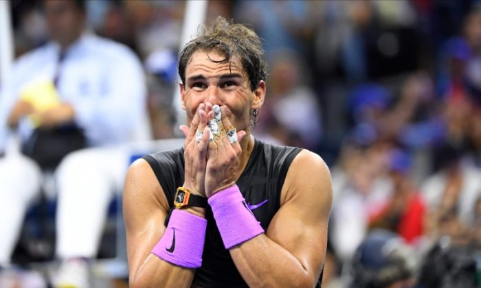 Rafael Nadal of Spain celebrates match point against Daniil Medvedev of Russia in the men's final match on day fourteen of the 2019 U.S. Open tennis tournament at USTA Billie Jean King National Tennis Center, New York, on Sept 8, 2019 (Robert Deutsch-USA TODAY Sports)