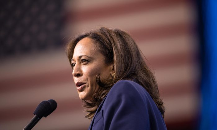 Democratic presidential candidate Sen. Kamala Harris (D-Calif.) speaks during the New Hampshire Democratic Party Convention at the SNHU Arena in Manchester, New Hampshire on Sept.7, 2019. (Photo by Scott Eisen/Getty Images)