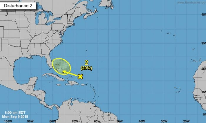 A weather disturbance moving toward the Bahamas and Florida could develop, the National Hurricane Center said on Sept. 9, 2019. (National Hurricane Center)