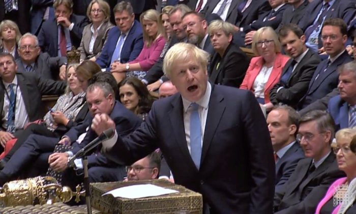 Britain's Prime Minister Boris Johnson speaks after Britain's parliament voted on whether to hold an early general election, in parliament in London on Sept. 10, 2019. (Parliament TV via Reuters)